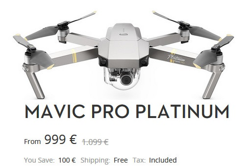 mavic pro platinum 100 euros off